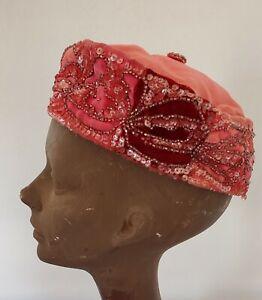 Pink Velvet Beaded Sequined Pillbox Vintage Hat Filene's