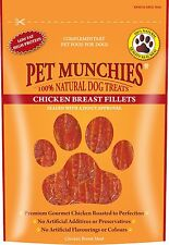 Pet Munchies Chicken Breast Fillets 100% Natural Dog Treats Grain Free 100g Box
