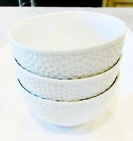 LOT OF THREE 3 STRAWBERRY STREET WHITE TEXTURED  CEREAL SOUP BOWLS GOOD COND