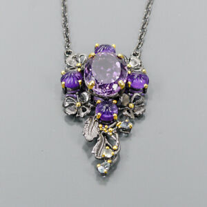 """18ct+ Handmade Amethyst Necklace 925 Sterling Silver  Length 18.5""""/N06518"""