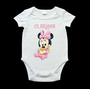 Personalised Minnie cute baby one piece, birth gift, new baby gift
