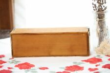 "Antique Wood Box Hand Made Pencil Box Size Flip Top Lid Metal Hinges 10"" Length"