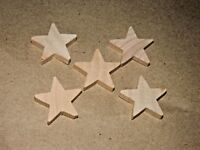 "5 pc Set New Raw Unfinished Wood Craft 1"" Star Lot Made in USA!"