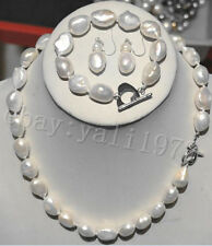 charming 9-11mm white SOUTH SEA baroque pearl necklace Bracelet Earring