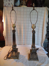 Vintage Hollywood regency electric table lamps set of 2 brass tone lamps
