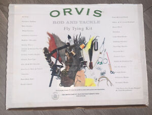 Orvis Fly Tying Kit, nearly complete Vice, Tools, Feathers, Fur