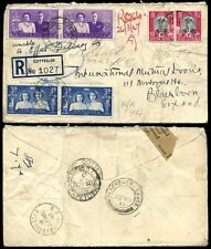SOUTH AFRICA 1947 REGISTERED COTTESLOE to BLACKBURN UNDELIVERED + RLB POSTMARK