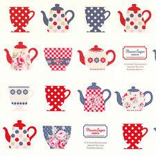 Fabric Flower Sugar Cotton Oxford bty Lecien Japan 40399L-10 cups tea pots coffe
