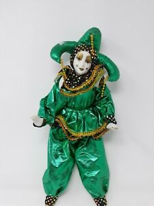 Porcelain Harlequin Jester Clown Doll Figurine 17""