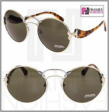 3a48e0cf3230 PRADA WANDERER Round PR55TS Brown Havana Pale Gold Green Sunglasses 55T  Women