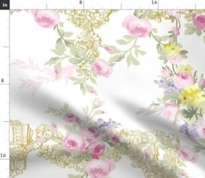 Toile White Roses Floral Pink Rococo Bees Spoonflower Fabric by the Yard
