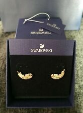 SWAROVSKI NICE STUD PIERCED EARRINGS WHITE , GOLD TONE PLATED NEW AUTHENTIC .
