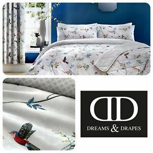 Dreams & Drapes Grey Floral Bird Print Duvet Cover Set, Bedspread OR Curtains