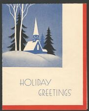 Vintage Christmas Card Holiday Greetings Snowy Church Scene Scrapbooking Crafts