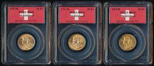 1913 1914 & 1915 SWISS .900 GOLD 20 FRANCS (.56 TrOz AGW) ALL PCGS MS65 > NO RSV