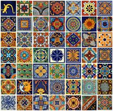 "Box Of 100 4x4"" Mexican Talavera Tile Hand Painted Mixed Desings 50 D"