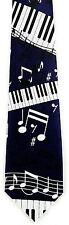 Piano Tunes Mens Necktie Music Blue Neck Tie Notes Keys Musical Instrument New