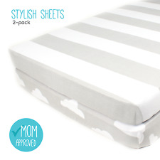 """Fitted Cotton Grey Crib Sheets 2 Pack """"Stripes & Clouds"""" by Mumby"""