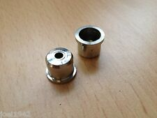 LAMBRETTA STAINLESS STEEL REAR BRAKE CABLE FERRULES - TOP HATS. X 2 . BRAND NEW.
