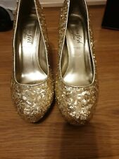 New Look Gold Sequin Heels Court Shoes Size 7