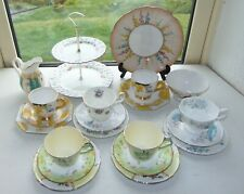 English China Mismatched 22PC teaset Cups Saucers Plates Sugar Milk Cake Stand