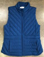 Ann Taylor Loft Women Size XS Blue Quilted Puffer Zip Up Vest Casual Layering
