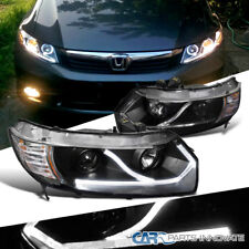 Fit 06-11 Honda Civic 2Dr Coupe Black LED Driving Lamp Projector Headlights