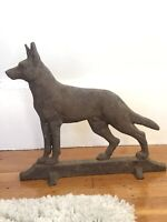 Vintage Cast Iron World Radio German Shepard Dog Door Stop By Davidson & Co.