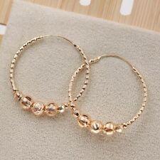 18K Gold Filled - Hollow Circle Geometric Beads Bohemian Hoop Women Earrings SW