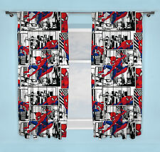 "NEW SPIDERMAN ""METROPOLIS"" PAIR OF CURTAINS BOYS WHITE BEDROOM - 66 x 54 Inch"