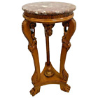Vintage Display Stand Victorian Syle Pink Marble top Tri Leg Hand Carved Base