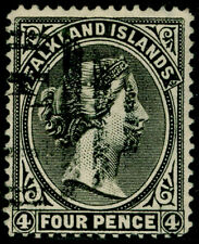 FALKLAND ISLANDS SG6, 4d grey-black, FINE USED. Cat £95.