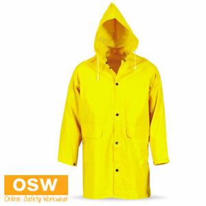 Unisex Mens Womens Outdoor Adults PVC 3/4 Length HOODED Rain Jacket S~6XL