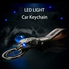 Superb Panthera blue Led eye cowhide leather strap car home keychain keyring