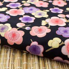 Black Japanese Plum Blossom Oriental Fabric Cotton Fat Quarter FQ #F0044