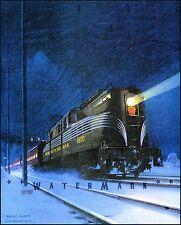 Pennsylvania Railroad 1936 Night Train Vintage Poster Print Travel Tourism Art