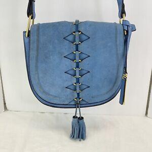 VINCE CAMUTO Ancel FL Blue Heaven Suede Leather Crossover Saddle Bag