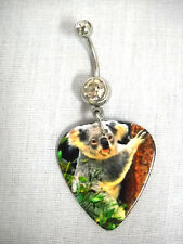 Guitar Pick On Clear Cz Belly Ring New Koala Bear Hanging Out On Tree Printed