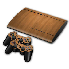 Wood Grain Sticker For PS3 Super Slim Protect Console Skin Controller Decal  set