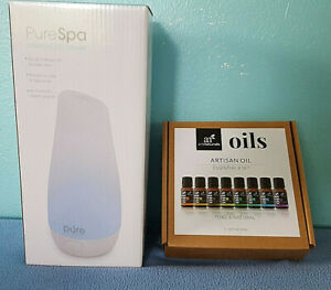 PureSpa diffuser + artnaturals pure essential oil 8 pack NEW IN BOX aromatherapy