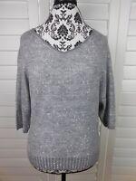Ann Taylor Loft Knit Blouse Womens Petite Medium Gray Sparkle Casual Top Shirt