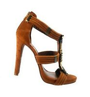 Tory Burch Women Shoes Brown Leather Suede T-Strap Heels Beads Sandals Size 10 M