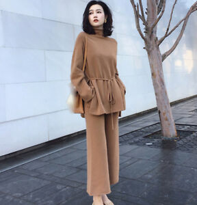 autumn Korean fashion leisure Knitting sweater Wide-legged pants two-piece suit