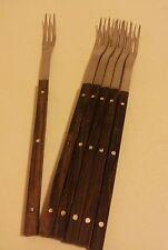 Lot de 6 le creuset long Rosewood manipulé Fondue Forks French Mid Century