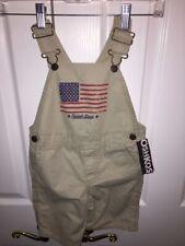 Oshkosh Bigosh Unisex Baby Shorts Overalls Beige USA Flag...