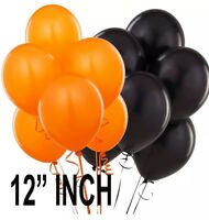 "50 latex balloons ORANGE & BLACK for Halloween helium or air 12"" Baloon haloween"