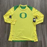 NEW Nike Oregon Ducks Long Sleeve Shirt Mens Large Yellow Green $70 Warm Up