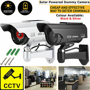 Dummy Fake Solar Battery Power Security Home CCTV Camera with flashing LED Light