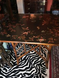 THEODORE ALEXANDER Chinoiserie Bamboo Base Square Table Black Lacquer Asian