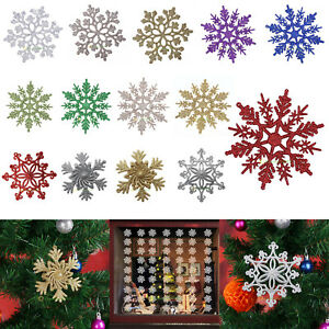 Glitter Snowflake Ornaments Christmas Tree Xmas Holiday Party Home Decoration